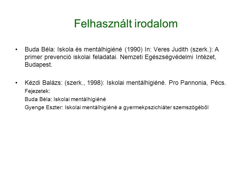 Felhasznált irodalom Buda Béla: Iskola és mentálhigiéné (1990) In: Veres Judith (szerk.): A primer prevenció iskolai feladatai. Nemzeti Egészségvédelm