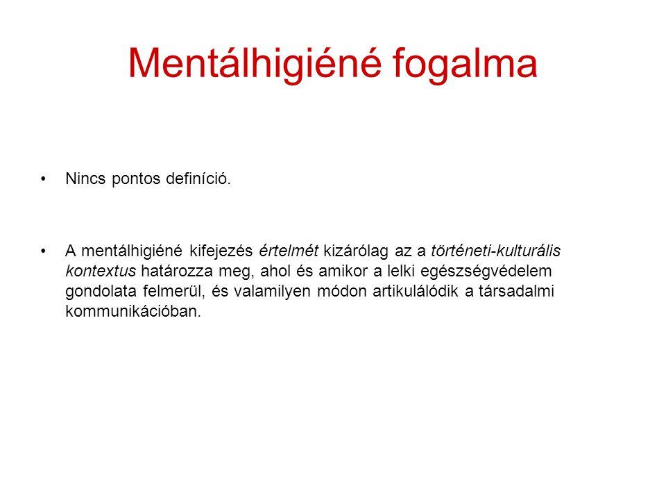 Mentálhigiéné fogalma Nincs pontos definíció. A mentálhigiéné kifejezés értelmét kizárólag az a történeti-kulturális kontextus határozza meg, ahol és