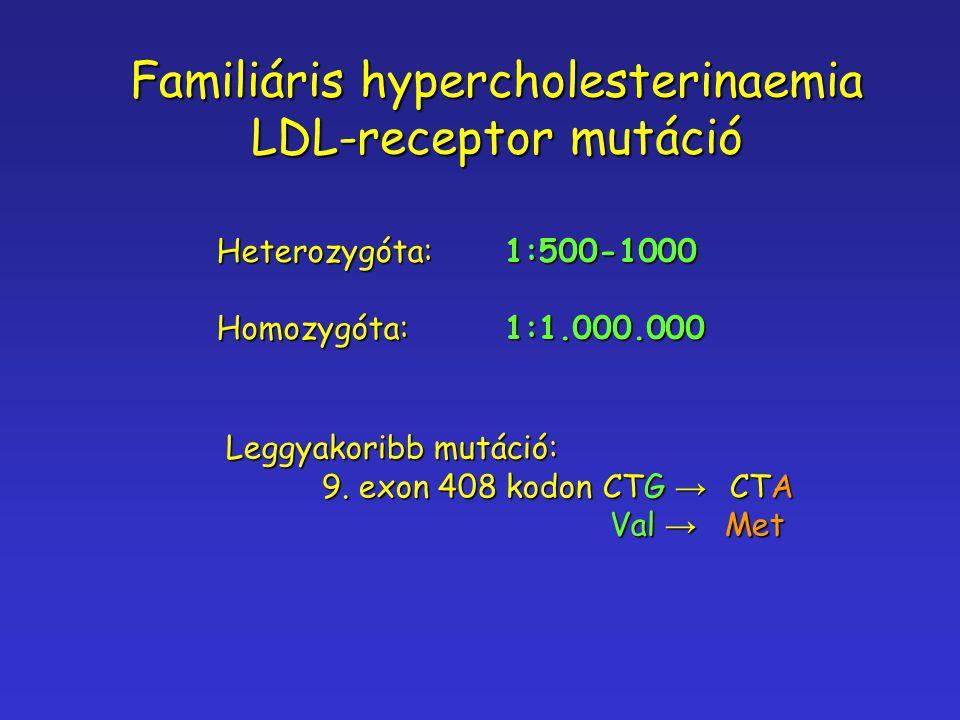 Heterozygóta:1:500-1000 Homozygóta:1:1.000.000 Familiáris hypercholesterinaemia LDL-receptor mutáció Leggyakoribb mutáció: 9. exon 408 kodon CTG → CTA