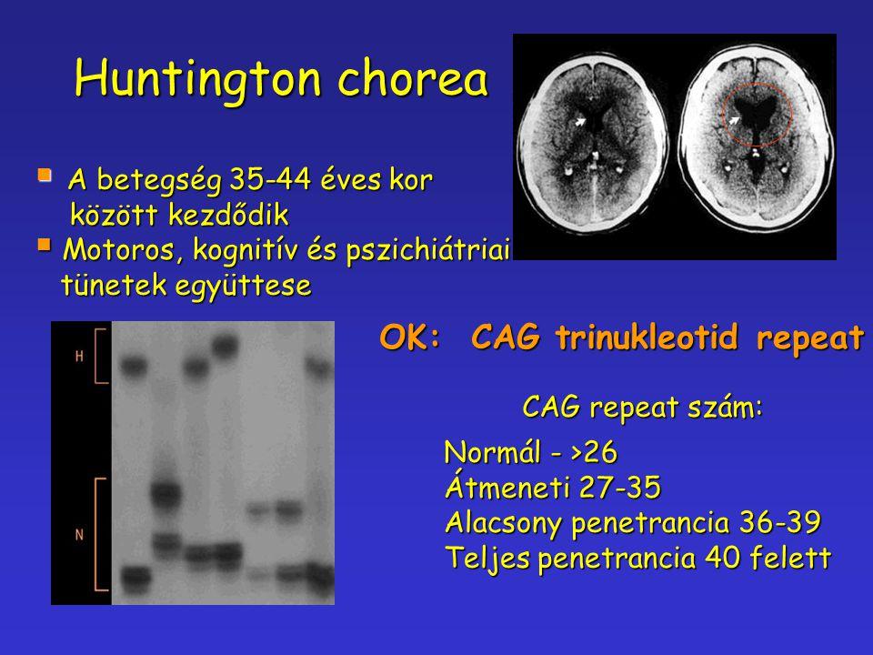 Huntington chorea  A betegség 35-44 éves kor között kezdődik között kezdődik  Motoros, kognitív és pszichiátriai tünetek együttese tünetek együttese