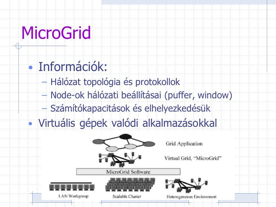 MicroGrid Információk: –Hálózat topológia és protokollok –Node-ok hálózati beállításai (puffer, window) –Számítókapacitások és elhelyezkedésük Virtuális gépek valódi alkalmazásokkal