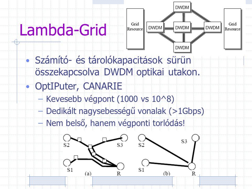 Lambda-Grid Számító- és tárolókapacitások sűrűn összekapcsolva DWDM optikai utakon.