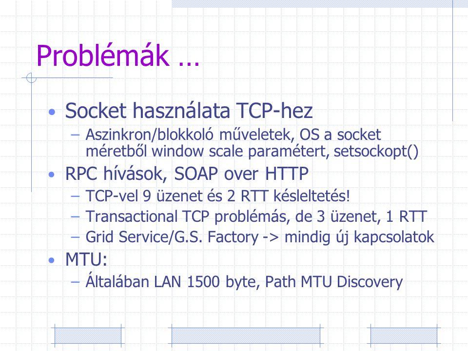 Problémák … Socket használata TCP-hez –Aszinkron/blokkoló műveletek, OS a socket méretből window scale paramétert, setsockopt() RPC hívások, SOAP over HTTP –TCP-vel 9 üzenet és 2 RTT késleltetés.