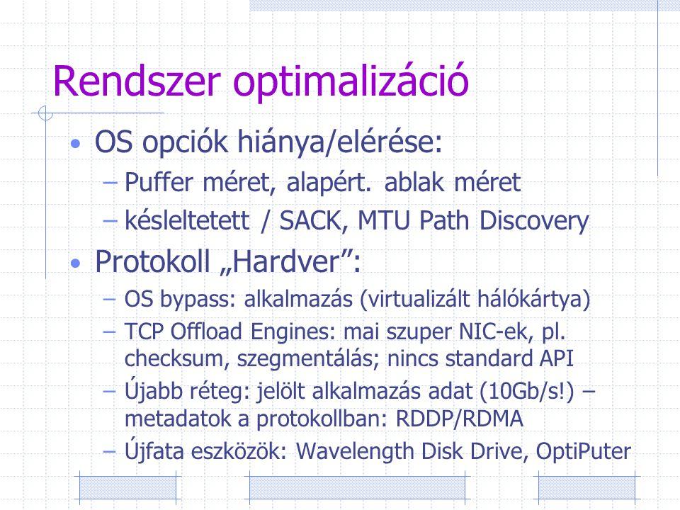 Rendszer optimalizáció OS opciók hiánya/elérése: –Puffer méret, alapért.
