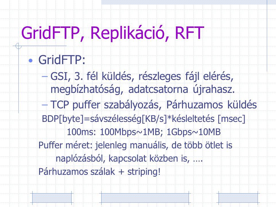 GridFTP, Replikáció, RFT GridFTP: –GSI, 3.