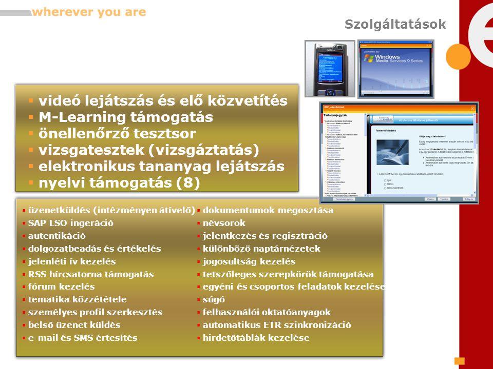 Szolgáltatások  üzenetküldés (intézményen átívelő)  SAP LSO ingeráció  autentikáció  dolgozatbeadás és értékelés  jelenléti ív kezelés  RSS hírcsatorna támogatás  fórum kezelés  tematika közzététele  személyes profil szerkesztés  belső üzenet küldés  e-mail és SMS értesítés  dokumentumok megosztása  névsorok  jelentkezés és regisztráció  különbözö naptárnézetek  jogosultság kezelés  tetszőleges szerepkörök támogatása  egyéni és csoportos feladatok kezelése  súgó  felhasználói oktatóanyagok  automatikus ETR szinkronizáció  hirdetőtáblák kezelése  videó lejátszás és elő közvetítés  M-Learning támogatás  önellenőrző tesztsor  vizsgatesztek (vizsgáztatás)  elektronikus tananyag lejátszás  nyelvi támogatás (8)