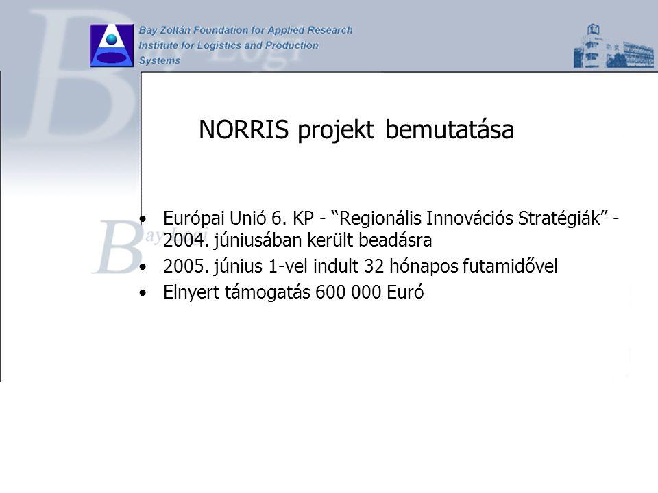 """NORRIS projekt bemutatása Európai Unió 6. KP - """"Regionális Innovációs Stratégiák"""" - 2004. júniusában került beadásra 2005. június 1-vel indult 32 hóna"""