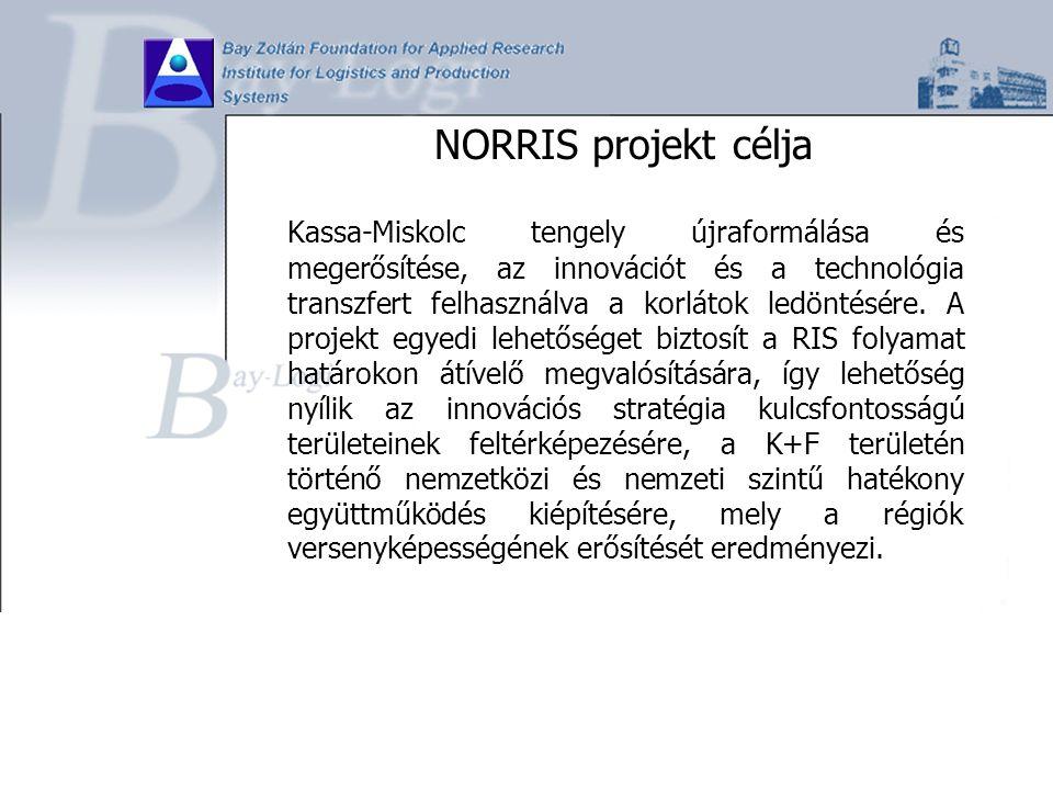NORRIS projekt célja Kassa-Miskolc tengely újraformálása és megerősítése, az innovációt és a technológia transzfert felhasználva a korlátok ledöntésér