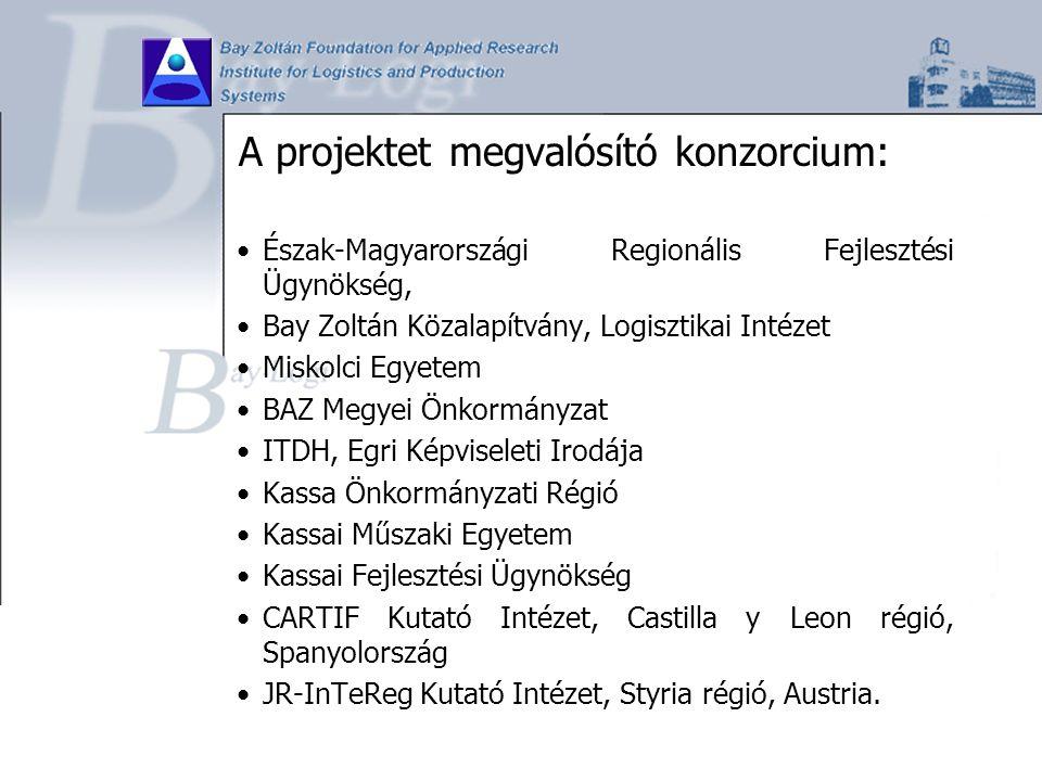A projektet megvalósító konzorcium: Észak-Magyarországi Regionális Fejlesztési Ügynökség, Bay Zoltán Közalapítvány, Logisztikai Intézet Miskolci Egyet