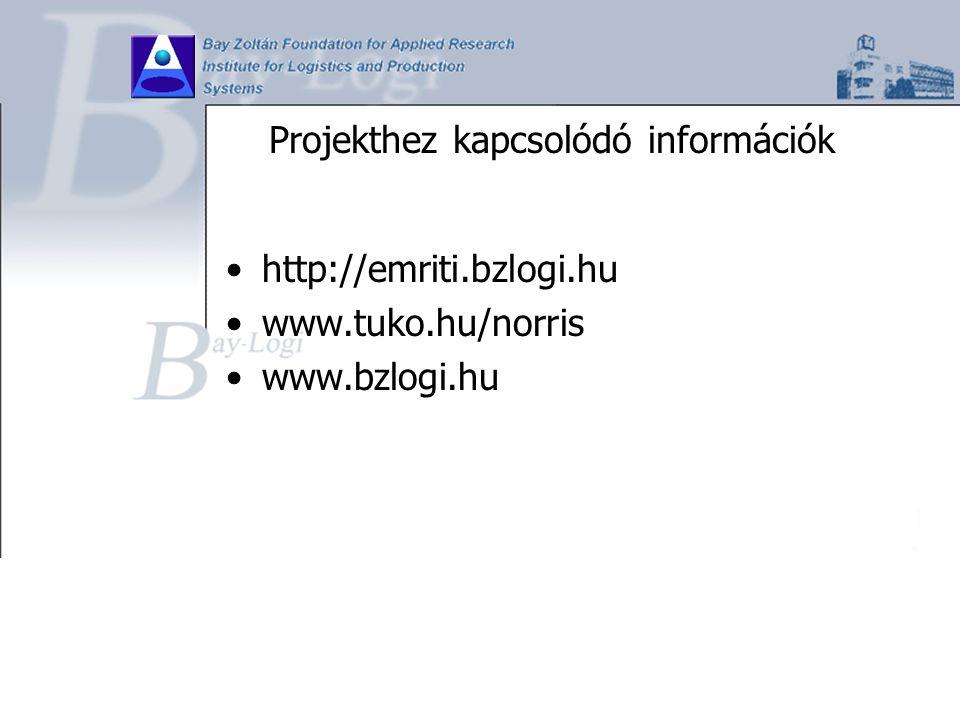 Projekthez kapcsolódó információk http://emriti.bzlogi.hu www.tuko.hu/norris www.bzlogi.hu