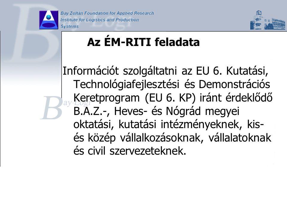 Az ÉM-RITI feladata Információt szolgáltatni az EU 6. Kutatási, Technológiafejlesztési és Demonstrációs Keretprogram (EU 6. KP) iránt érdeklődő B.A.Z.