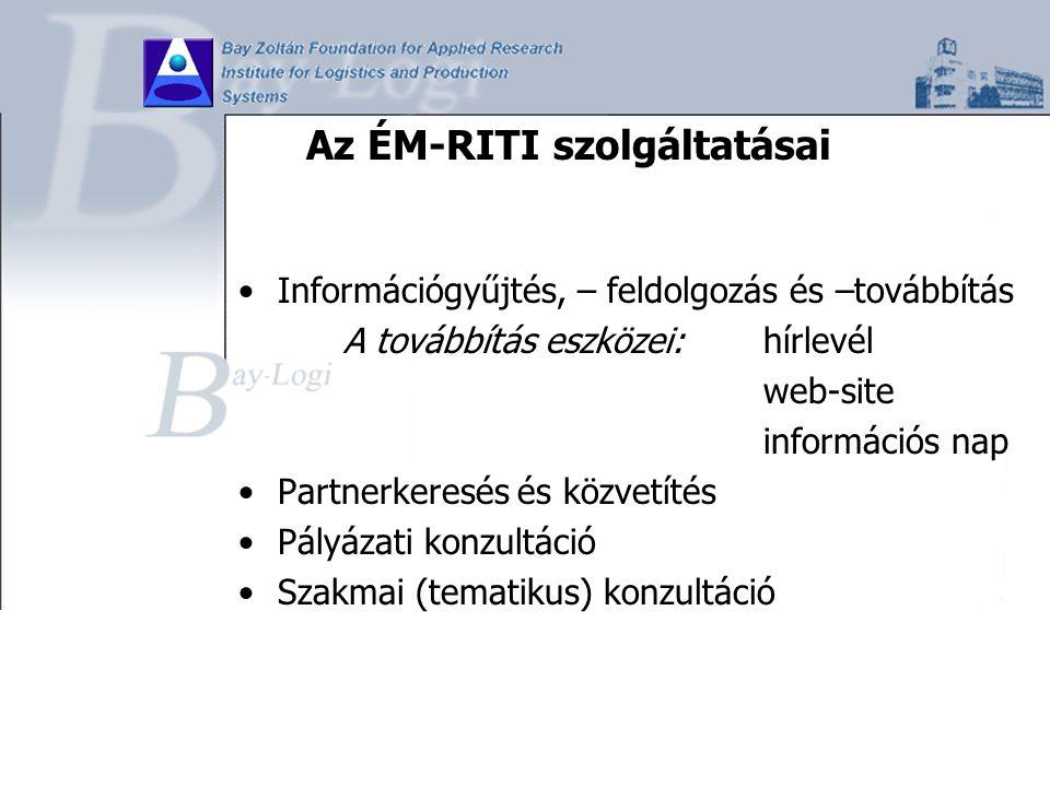 Az ÉM-RITI szolgáltatásai Információgyűjtés, – feldolgozás és –továbbítás A továbbítás eszközei: hírlevél web-site információs nap Partnerkeresés és k