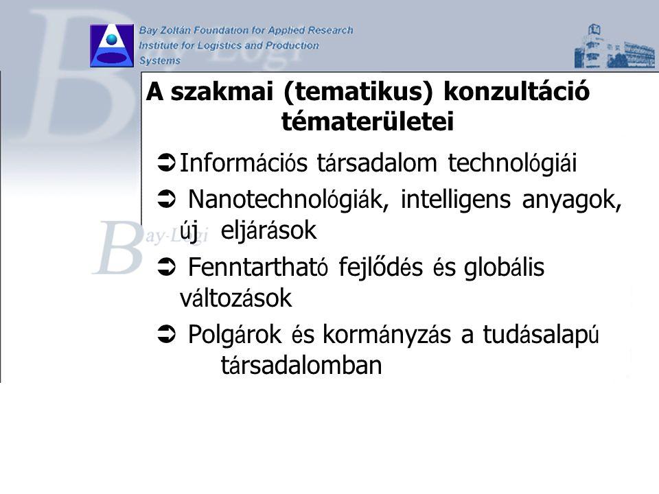 A szakmai (tematikus) konzultáció tématerületei  Inform á ci ó s t á rsadalom technol ó gi á i  Nanotechnol ó gi á k, intelligens anyagok, ú j elj á