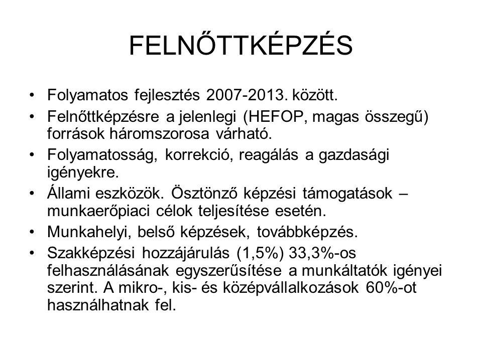 FELNŐTTKÉPZÉS Folyamatos fejlesztés 2007-2013. között.