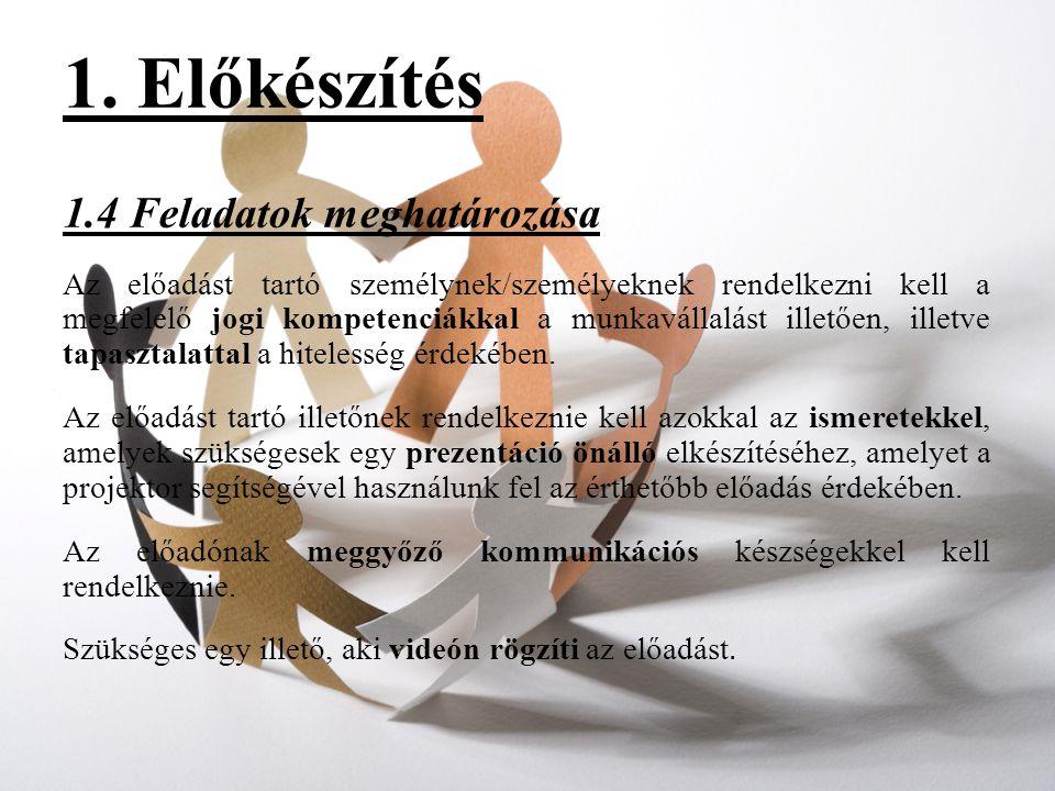 1. Előkészítés 1.4 Feladatok meghatározása Az előadást tartó személynek/személyeknek rendelkezni kell a megfelelő jogi kompetenciákkal a munkavállalás