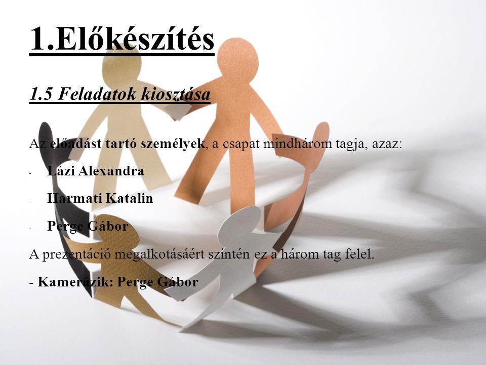 1.Előkészítés 1.5 Feladatok kiosztása Az előadást tartó személyek, a csapat mindhárom tagja, azaz: - Lázi Alexandra - Harmati Katalin - Perge Gábor A prezentáció megalkotásáért szintén ez a három tag felel.