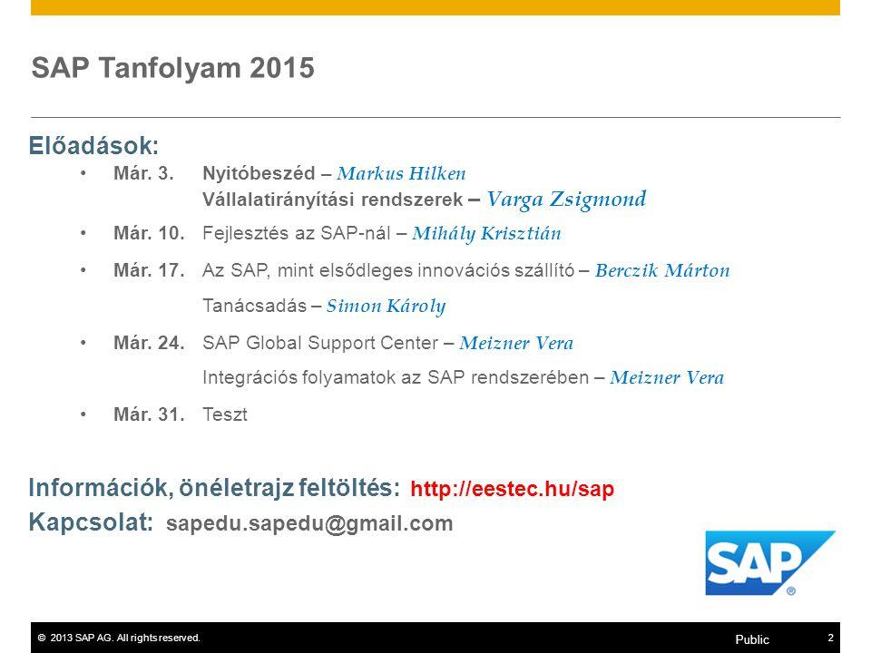 ©2013 SAP AG. All rights reserved.2 Public SAP Tanfolyam 2015 Előadások: Már. 3. Nyitóbeszéd – Markus Hilken Vállalatirányítási rendszerek – Varga Zsi