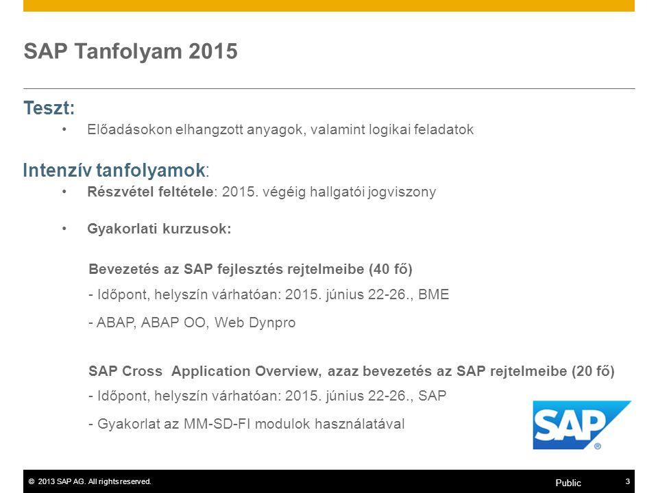 ©2013 SAP AG. All rights reserved.3 Public SAP Tanfolyam 2015 Teszt: Előadásokon elhangzott anyagok, valamint logikai feladatok Intenzív tanfolyamok: