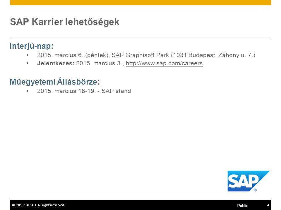 ©2013 SAP AG. All rights reserved.4 Public SAP Karrier lehetőségek Interjú-nap: 2015. március 6. (péntek), SAP Graphisoft Park (1031 Budapest, Záhony