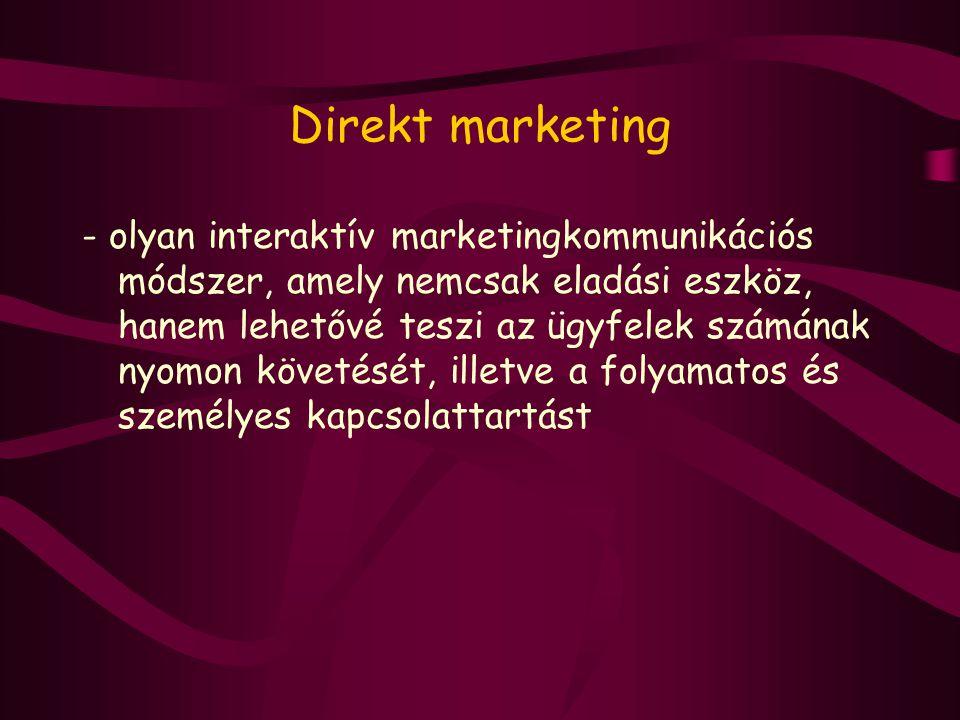 Direkt marketing - olyan interaktív marketingkommunikációs módszer, amely nemcsak eladási eszköz, hanem lehetővé teszi az ügyfelek számának nyomon köv