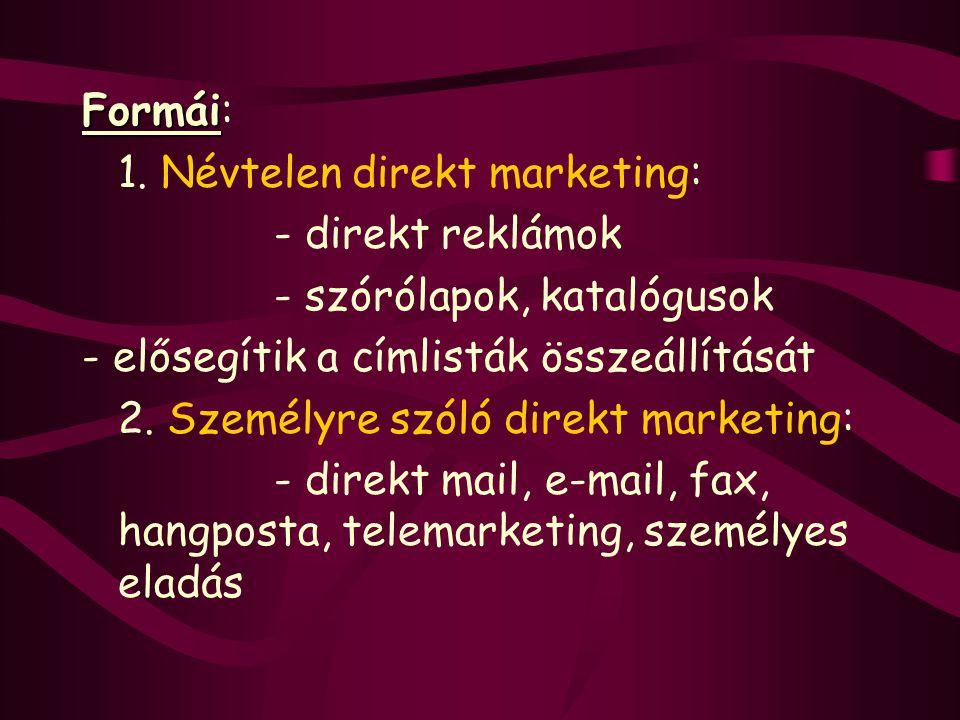 Formái Formái: 1. Névtelen direkt marketing: - direkt reklámok - szórólapok, katalógusok - elősegítik a címlisták összeállítását 2. Személyre szóló di