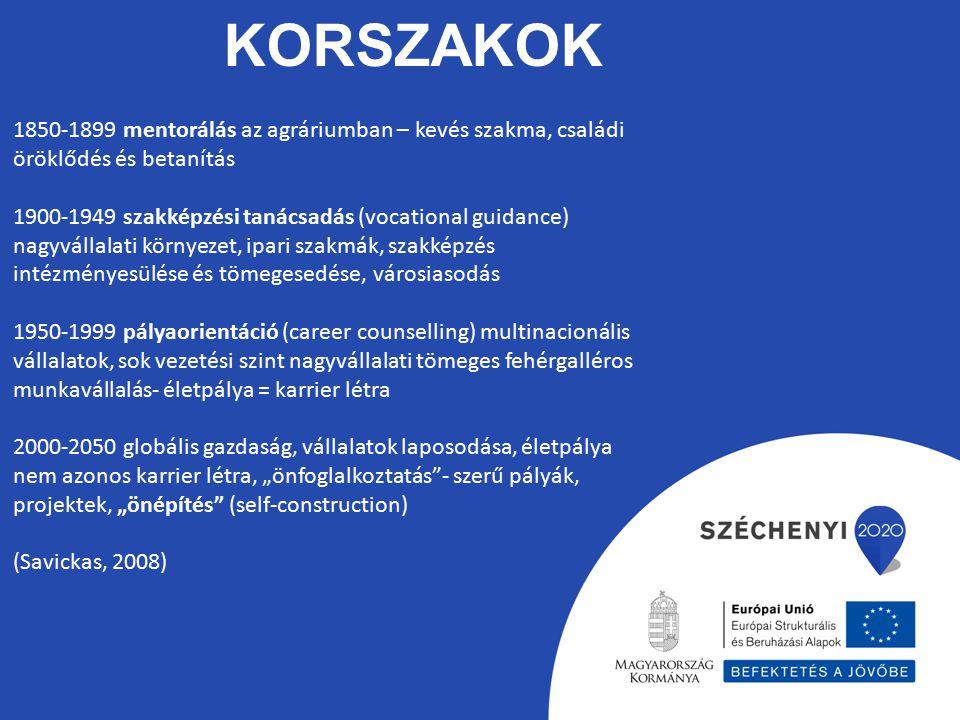 KORSZAKOK 1850-1899 mentorálás az agráriumban – kevés szakma, családi öröklődés és betanítás 1900-1949 szakképzési tanácsadás (vocational guidance) na