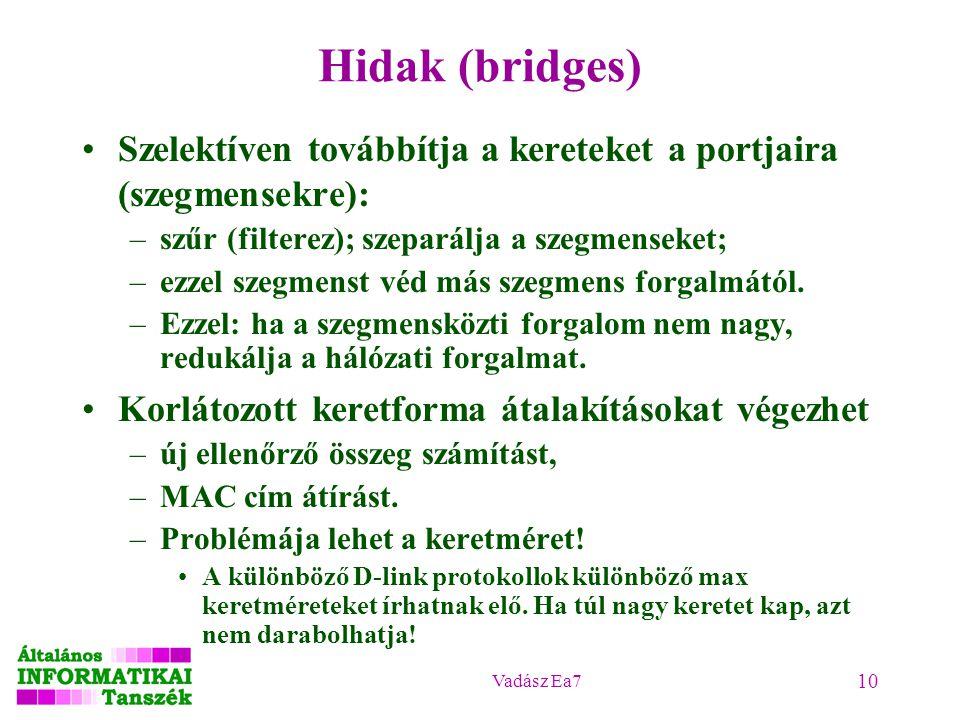 Vadász Ea7 10 Hidak (bridges) Szelektíven továbbítja a kereteket a portjaira (szegmensekre): –szűr (filterez); szeparálja a szegmenseket; –ezzel szegmenst véd más szegmens forgalmától.