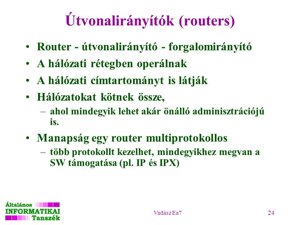 Vadász Ea7 24 Útvonalirányítók (routers) Router - útvonalirányító - forgalomirányító A hálózati rétegben operálnak A hálózati címtartományt is látják Hálózatokat kötnek össze, –ahol mindegyik lehet akár önálló adminisztrációjú is.