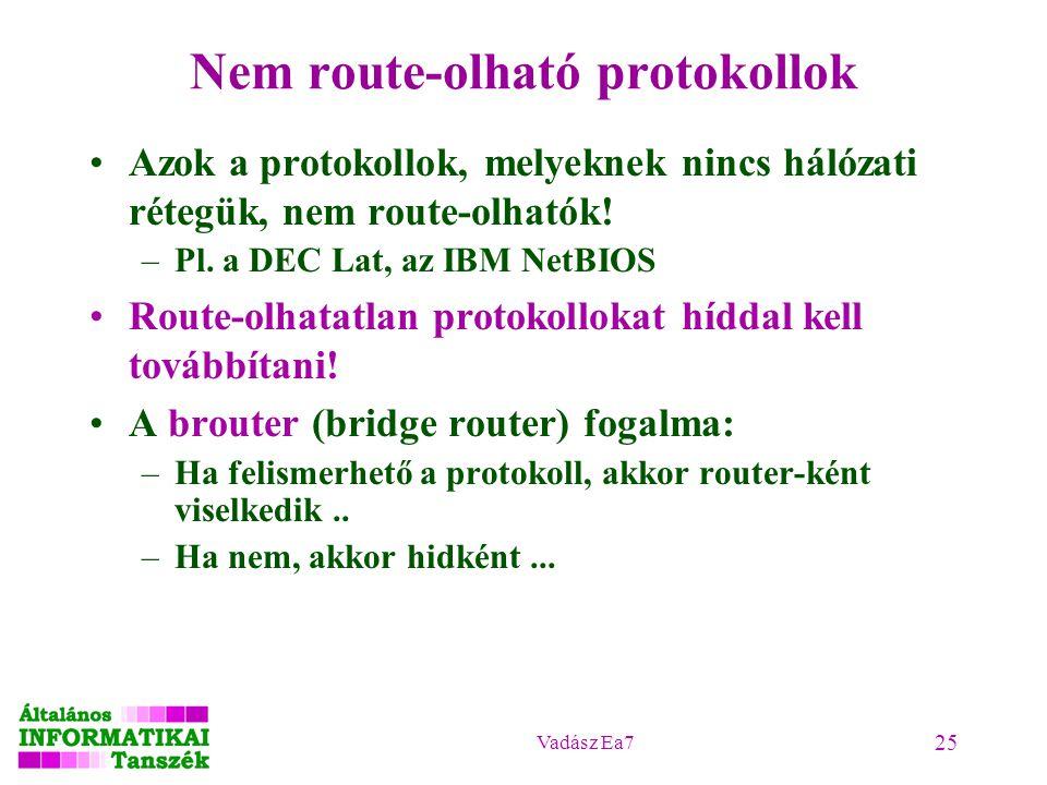 Vadász Ea7 25 Nem route-olható protokollok Azok a protokollok, melyeknek nincs hálózati rétegük, nem route-olhatók.