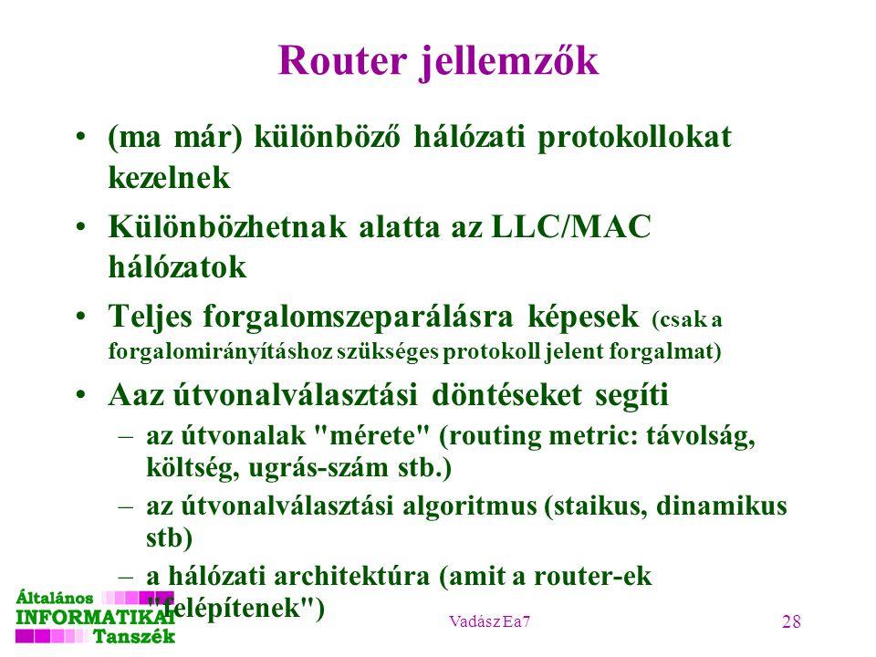 Vadász Ea7 28 Router jellemzők (ma már) különböző hálózati protokollokat kezelnek Különbözhetnak alatta az LLC/MAC hálózatok Teljes forgalomszeparálásra képesek (csak a forgalomirányításhoz szükséges protokoll jelent forgalmat) Aaz útvonalválasztási döntéseket segíti –az útvonalak mérete (routing metric: távolság, költség, ugrás-szám stb.) –az útvonalválasztási algoritmus (staikus, dinamikus stb) –a hálózati architektúra (amit a router-ek felépítenek )