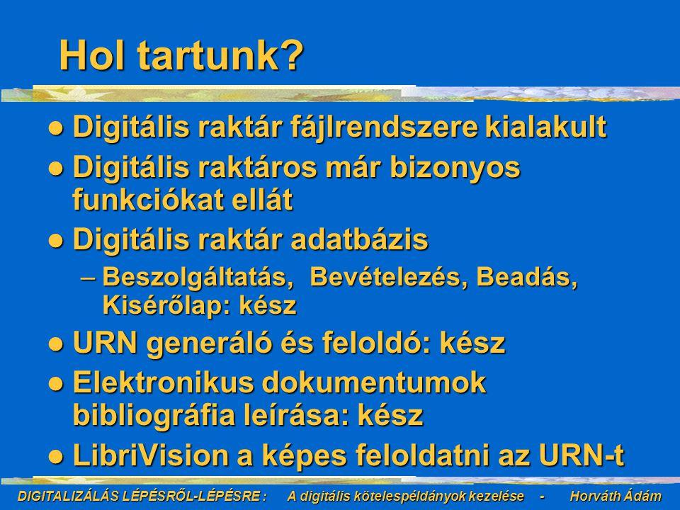 DIGITALIZÁLÁS LÉPÉSRŐL-LÉPÉSRE : A digitális kötelespéldányok kezelése - Horváth Ádám Hol tartunk.