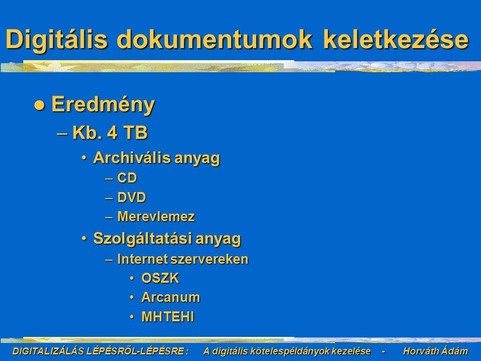 DIGITALIZÁLÁS LÉPÉSRŐL-LÉPÉSRE : A digitális kötelespéldányok kezelése - Horváth Ádám URN URN generáló URN generáló –Egyedi azonosítót ad –Az azonosítót összeköti az URL-el URN feloldó URN feloldó –Az URN ismeretében visszaadja a digitális objektumot