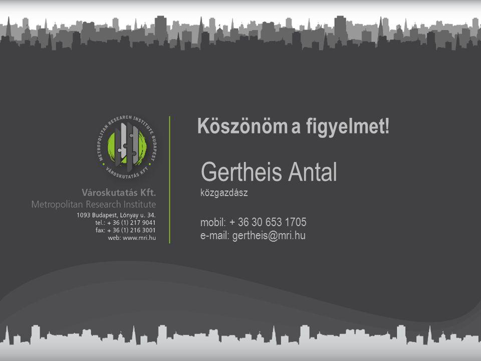 Köszönöm a figyelmet! Gertheis Antal közgazdász mobil: + 36 30 653 1705 e-mail: gertheis@mri.hu