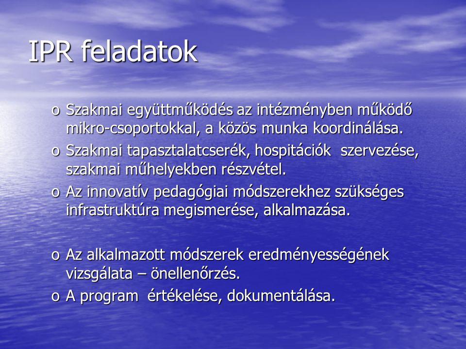 IPR feladatok oSzakmai együttműködés az intézményben működő mikro-csoportokkal, a közös munka koordinálása. oSzakmai tapasztalatcserék, hospitációk sz