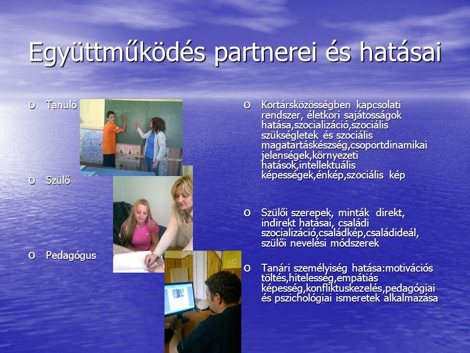 Együttműködés partnerei és hatásai o Tanuló o Szülő o Pedagógus o Kortársközösségben kapcsolati rendszer, életkori sajátosságok hatása,szocializáció,s