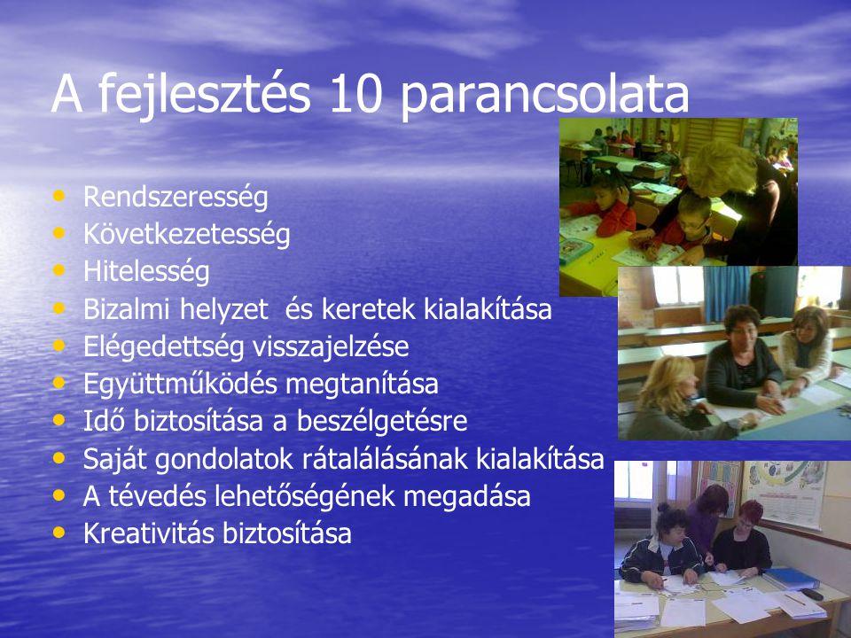 A fejlesztés 10 parancsolata Rendszeresség Következetesség Hitelesség Bizalmi helyzet és keretek kialakítása Elégedettség visszajelzése Együttműködés
