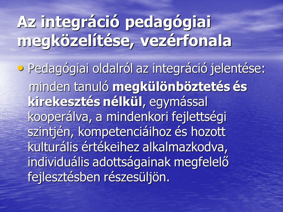 Az integráció pedagógiai megközelítése, vezérfonala Pedagógiai oldalról az integráció jelentése: Pedagógiai oldalról az integráció jelentése: minden t