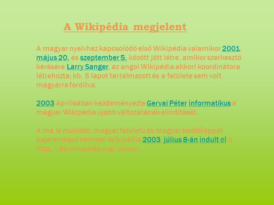A Wikipédia megjelent A magyar nyelvhez kapcsolódó első Wikipédia valamikor 2001.