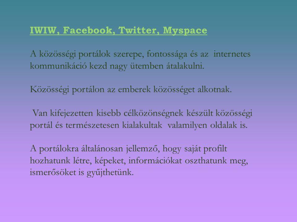 IWIW, Facebook, Twitter, Myspace A közösségi portálok szerepe, fontossága és az internetes kommunikáció kezd nagy ütemben átalakulni.