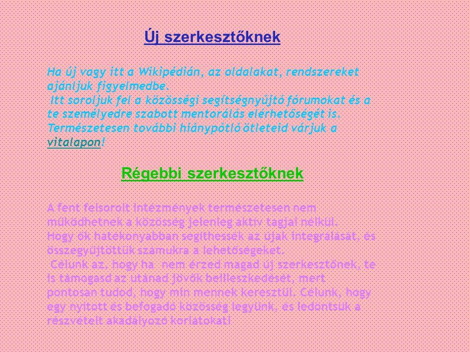 Új szerkesztőknek Ha új vagy itt a Wikipédián, az oldalakat, rendszereket ajánljuk figyelmedbe.