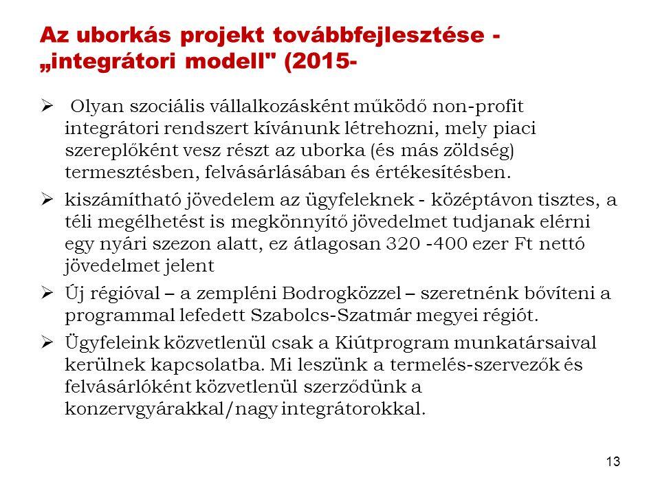 """Az uborkás projekt továbbfejlesztése - """"integrátori modell"""