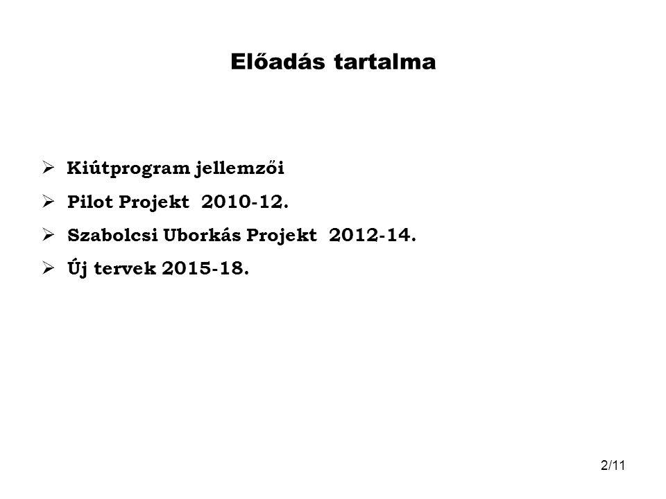 Előadás tartalma 2/11  Kiútprogram jellemzői  Pilot Projekt 2010-12.  Szabolcsi Uborkás Projekt 2012-14.  Új tervek 2015-18.
