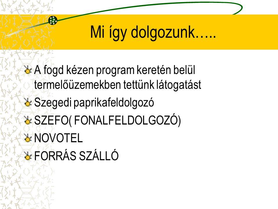 Mi így dolgozunk….. A fogd kézen program keretén belül termelőüzemekben tettünk látogatást Szegedi paprikafeldolgozó SZEFO( FONALFELDOLGOZÓ) NOVOTEL F