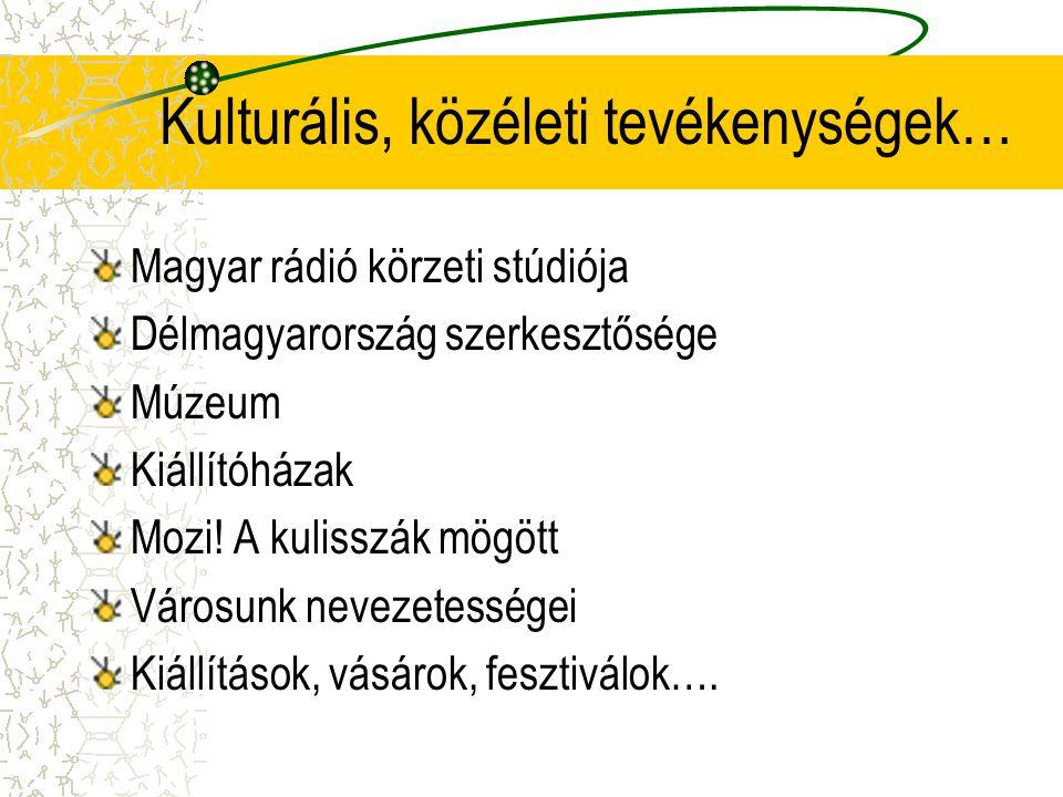 Kulturális, közéleti tevékenységek… Magyar rádió körzeti stúdiója Délmagyarország szerkesztősége Múzeum Kiállítóházak Mozi! A kulisszák mögött Városun
