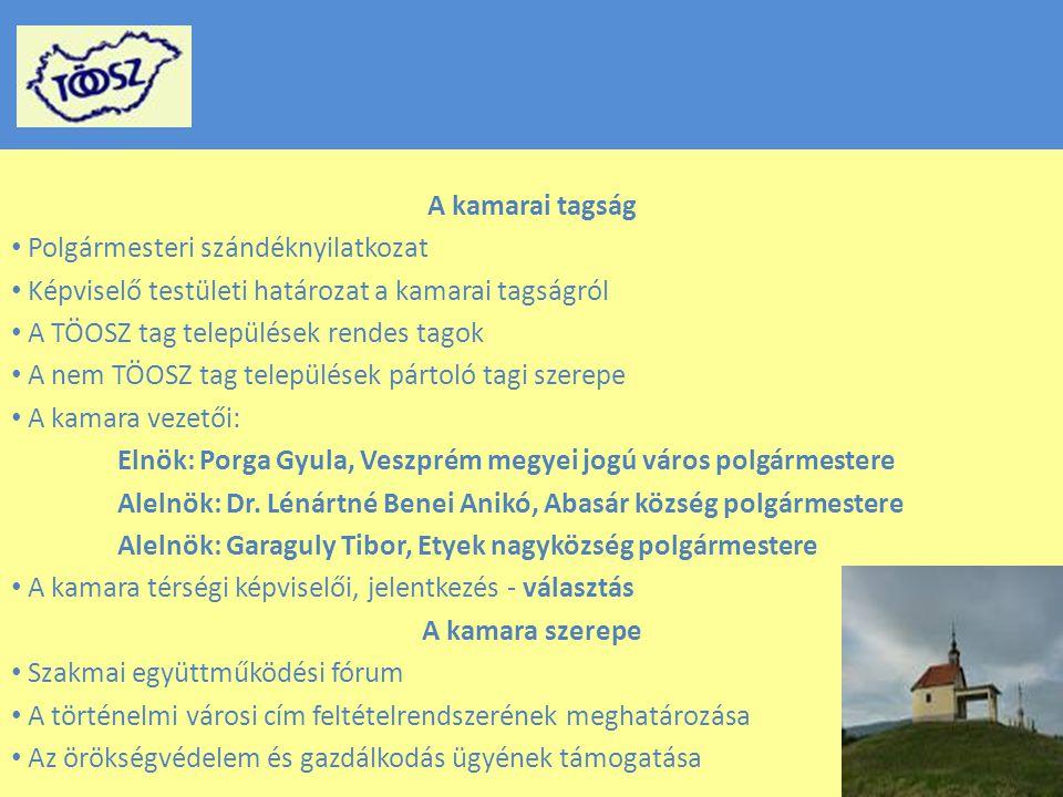 A kamarai tagság Polgármesteri szándéknyilatkozat Képviselő testületi határozat a kamarai tagságról A TÖOSZ tag települések rendes tagok A nem TÖOSZ tag települések pártoló tagi szerepe A kamara vezetői: Elnök: Porga Gyula, Veszprém megyei jogú város polgármestere Alelnök: Dr.