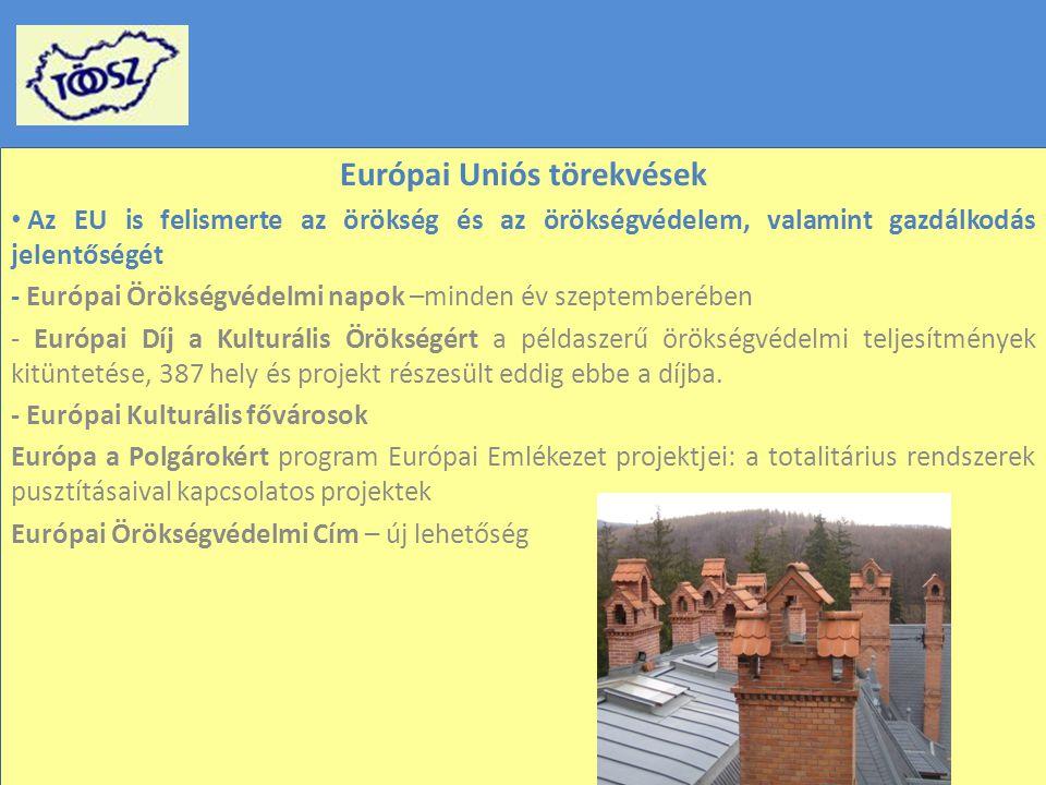 Európai Uniós törekvések Az EU is felismerte az örökség és az örökségvédelem, valamint gazdálkodás jelentőségét - Európai Örökségvédelmi napok –minden év szeptemberében - Európai Díj a Kulturális Örökségért a példaszerű örökségvédelmi teljesítmények kitüntetése, 387 hely és projekt részesült eddig ebbe a díjba.