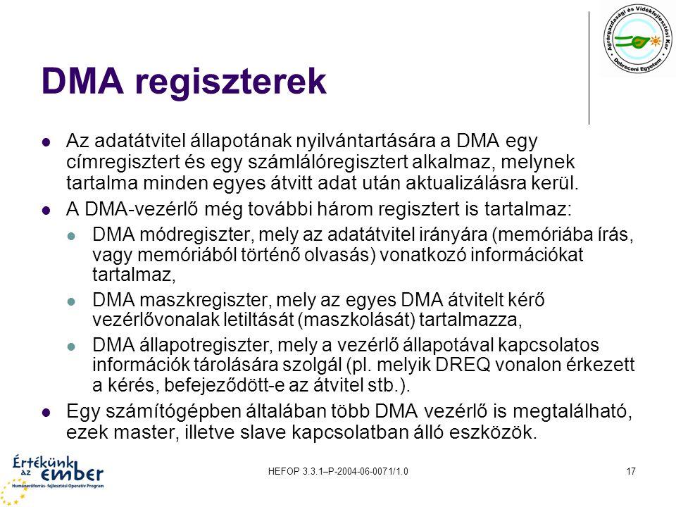 HEFOP 3.3.1–P-2004-06-0071/1.017 DMA regiszterek Az adatátvitel állapotának nyilvántartására a DMA egy címregisztert és egy számlálóregisztert alkalmaz, melynek tartalma minden egyes átvitt adat után aktualizálásra kerül.