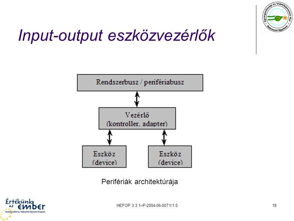 HEFOP 3.3.1–P-2004-06-0071/1.018 Input-output eszközvezérlők Perifériák architektúrája