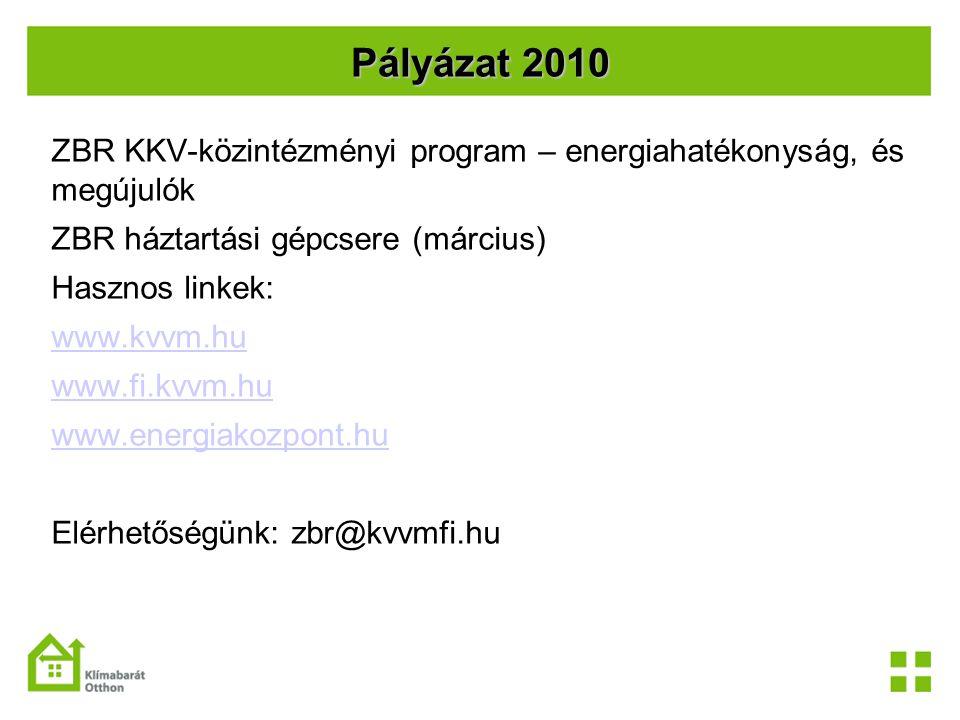 Pályázat 2010 ZBR KKV-közintézményi program – energiahatékonyság, és megújulók ZBR háztartási gépcsere (március) Hasznos linkek: www.kvvm.hu www.fi.kv
