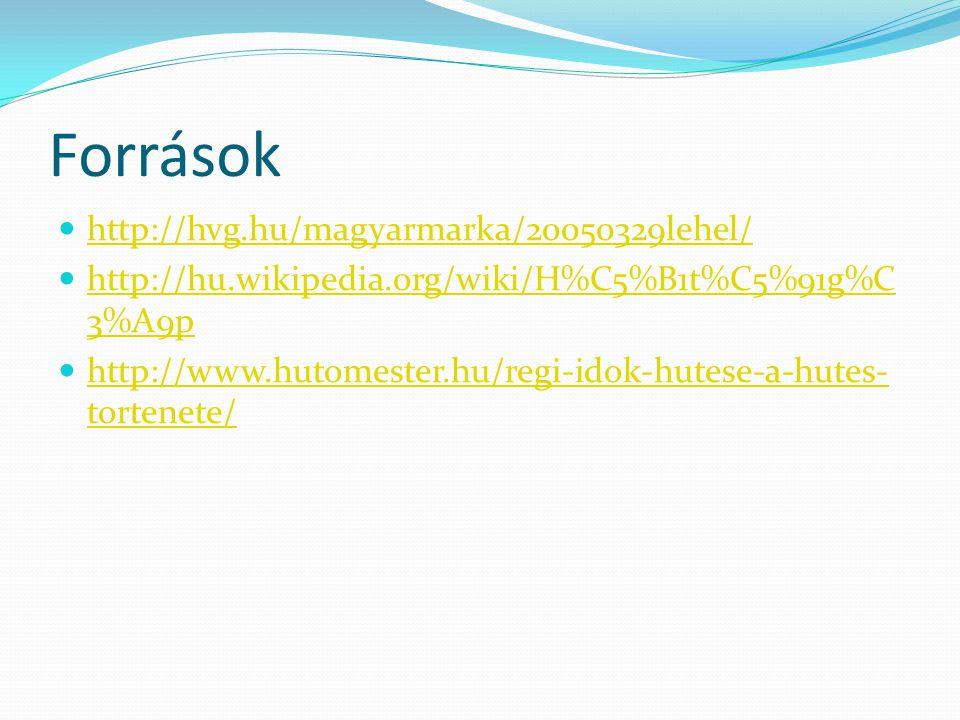 Források http://hvg.hu/magyarmarka/20050329lehel/ http://hu.wikipedia.org/wiki/H%C5%B1t%C5%91g%C 3%A9p http://hu.wikipedia.org/wiki/H%C5%B1t%C5%91g%C